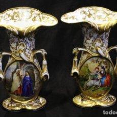 Antigüedades: PAREJA DE JARRONES DE PORCELANA VIEJO PARÍS SIGLO XIX. Lote 222368855