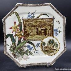 "Antigüedades: PLATO OCTAGONAL WALLIS GIMSON & Cº 1884, SERIE "" THE WORLD"". Lote 222373840"