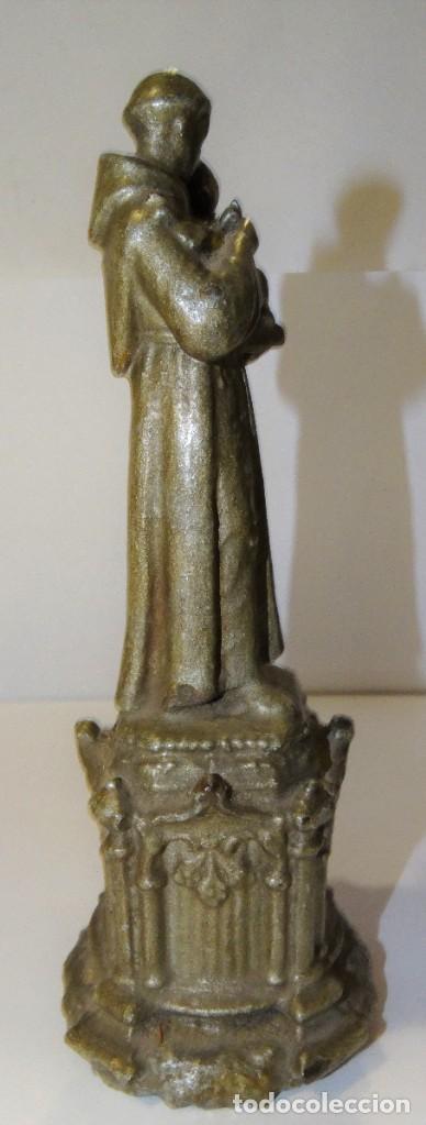 Antigüedades: ESCULTURA SAN ANTONIO DE PADUA CALAMINA CINCELADA EN PEDESTAL - Foto 3 - 222376775