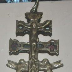Antigüedades: ANTIGUA CRUZ DE CARAVACA DE COBRE 14X7 CM. Lote 222387701