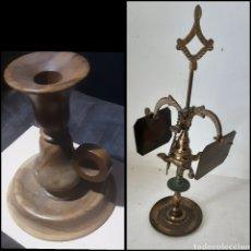 Antigüedades: PORTAVELAS DE MADERA Y REGALO ANTIGUA LUMINARIA (A RESTAURAR). Lote 222388212