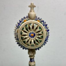 Antigüedades: ANTIGUO RELICARIO S.XVIII TALLADO EN HUESO Y POLICROMADO.. Lote 222391111