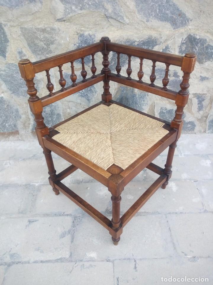 Antigüedades: Antigua silla de esquina de madera de cerezo silvestre y nea - Foto 2 - 222392736