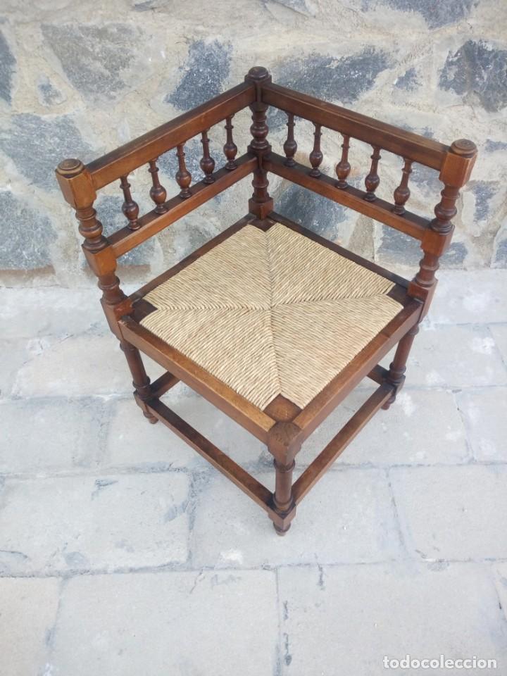 Antigüedades: Antigua silla de esquina de madera de cerezo silvestre y nea - Foto 3 - 222392736