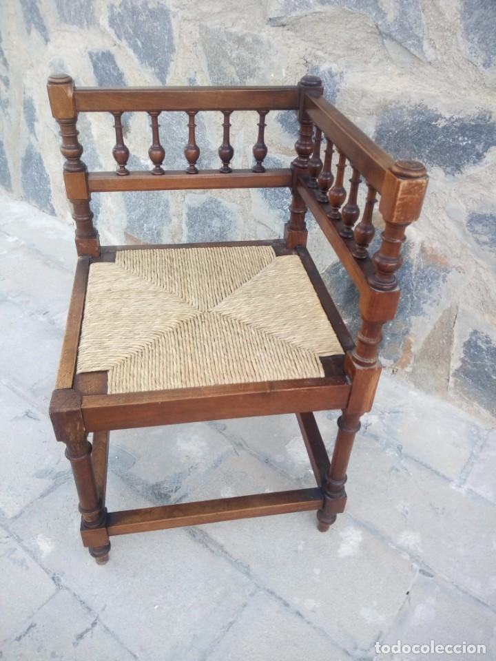 Antigüedades: Antigua silla de esquina de madera de cerezo silvestre y nea - Foto 5 - 222392736