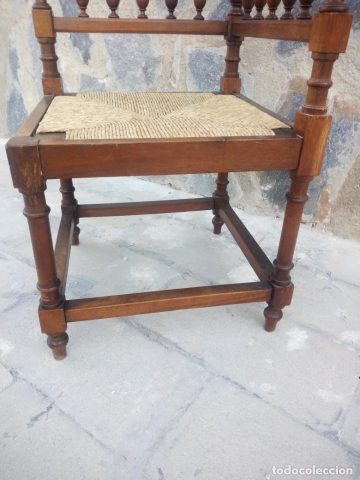 Antigüedades: Antigua silla de esquina de madera de cerezo silvestre y nea - Foto 6 - 222392736