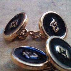 Antigüedades: GEMELOS CON INICIALES ET, DORADOS. Lote 222417500