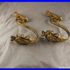 Antigüedades: ALZAPAÑOS DE BRONCE CON MOTIVOS IMPERIO. Lote 222439736