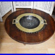 Antigüedades: ANTIGUO BRASERO DE MADERA Y BRONCE DORADO. Lote 222442062