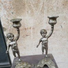 Antigüedades: PAREJA DE CANDELABROS ANTIGUOS. Lote 222446891