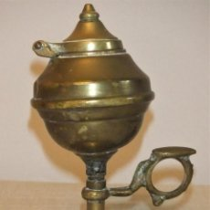 Antigüedades: ANTIGUA LÁMPARA DE ACEITE TIPO CAPUCHINA DE BRONCE. Lote 222454150
