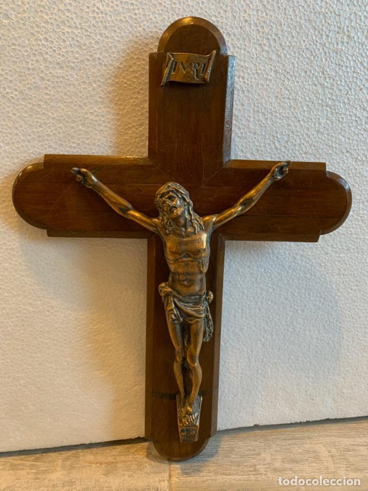 CRUCIFIJO DE BRONCE (Antigüedades - Religiosas - Crucifijos Antiguos)