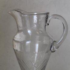 Antigüedades: ANTIGUA JARRA DE AGUA CRISTAL TALLADO AÑOS 40 SANTA LUCIA - CARTAGENA. Lote 222516751