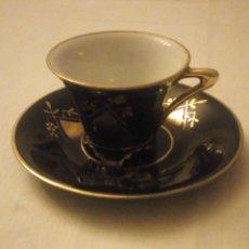 Antigüedades: PRECIOSO SOLITARIO DE CAFÉ DE PORCELANA COBALTO,JL MENAU. Lote 222516882