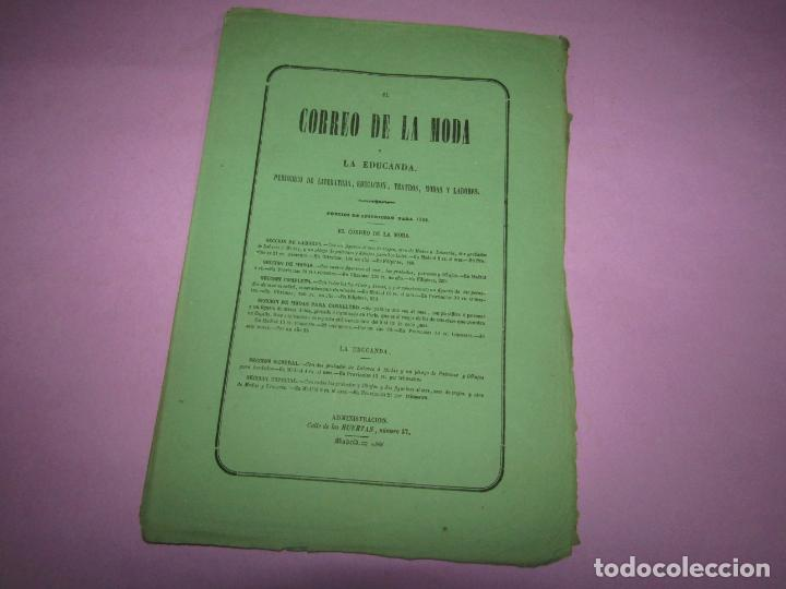 Antigüedades: Antiguo EL CORREO DE LA MODA, Álbum de Señoritas Nº 661 con Lamina Litografiada del Año 1866 - Foto 2 - 222542421