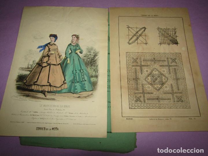 ANTIGUO EL CORREO DE LA MODA, ÁLBUM DE SEÑORITAS Nº 661 CON LAMINA LITOGRAFIADA DEL AÑO 1866 (Antigüedades - Moda y Complementos - Mujer)
