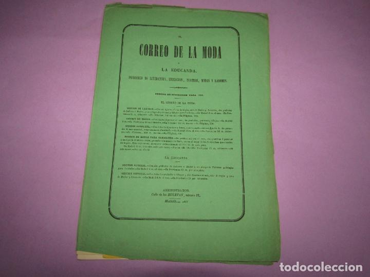 Antigüedades: Antiguo EL CORREO DE LA MODA, Álbum de Señoritas Nº 662 con Lamina Litografiada del Año 1866 - Foto 2 - 222542550