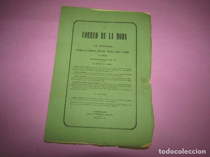 Antigüedades: Antiguo EL CORREO DE LA MODA, Álbum de Señoritas Nº 664 con Lamina Litografiada del Año 1866 - Foto 3 - 222542770