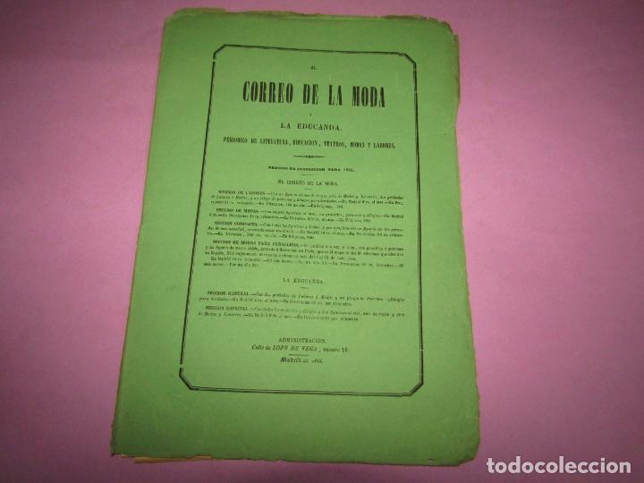 Antigüedades: Antiguo EL CORREO DE LA MODA, Álbum de Señoritas Nº 657 con Lamina Litografiada del Año 1866 - Foto 2 - 222542822