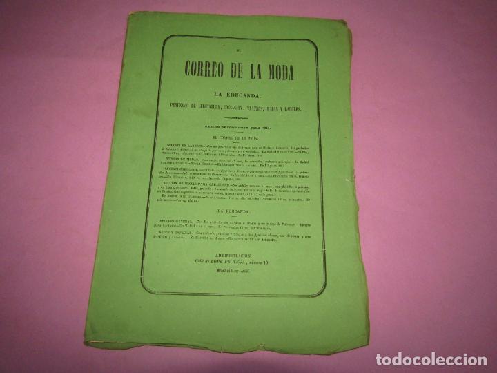 Antigüedades: Antiguo EL CORREO DE LA MODA, Álbum de Señoritas Nº 658 con Lamina Litografiada del Año 1866 - Foto 2 - 222543068