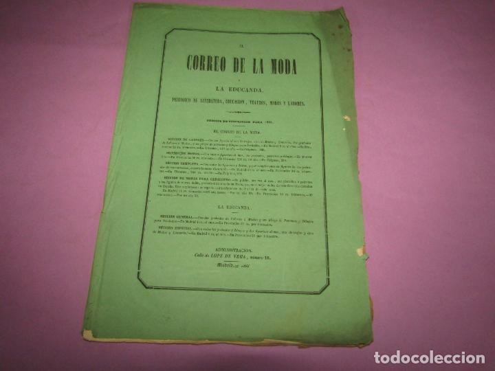 Antigüedades: Antiguo EL CORREO DE LA MODA, Álbum de Señoritas Nº 641 con Lamina Litografiada del Año 1866 - Foto 2 - 222543160