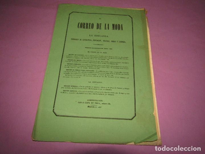 Antigüedades: Antiguo EL CORREO DE LA MODA, Álbum de Señoritas Nº 640 con Lamina Litografiada del Año 1866 - Foto 2 - 222543227