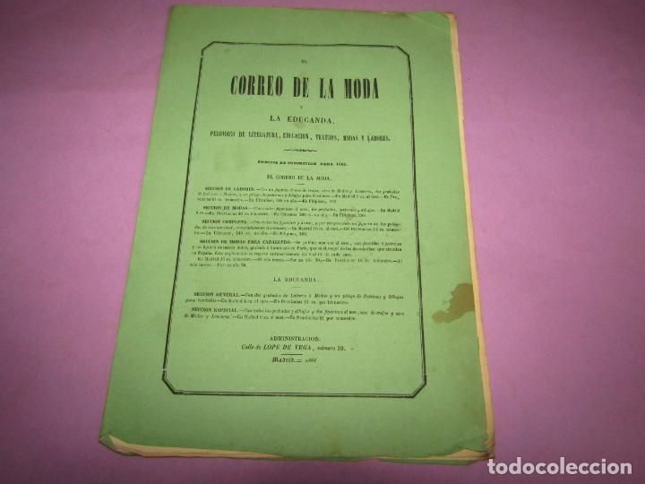 Antigüedades: Antiguo EL CORREO DE LA MODA, Álbum de Señoritas Nº 639 con Lamina Litografiada del Año 1866 - Foto 2 - 222543331