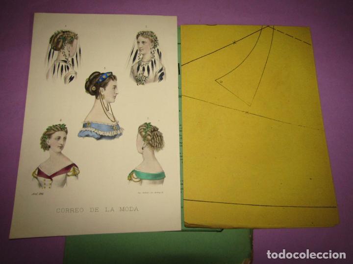 ANTIGUO EL CORREO DE LA MODA, ÁLBUM DE SEÑORITAS Nº 638 CON LAMINA LITOGRAFIADA DEL AÑO 1866 (Antigüedades - Moda y Complementos - Mujer)