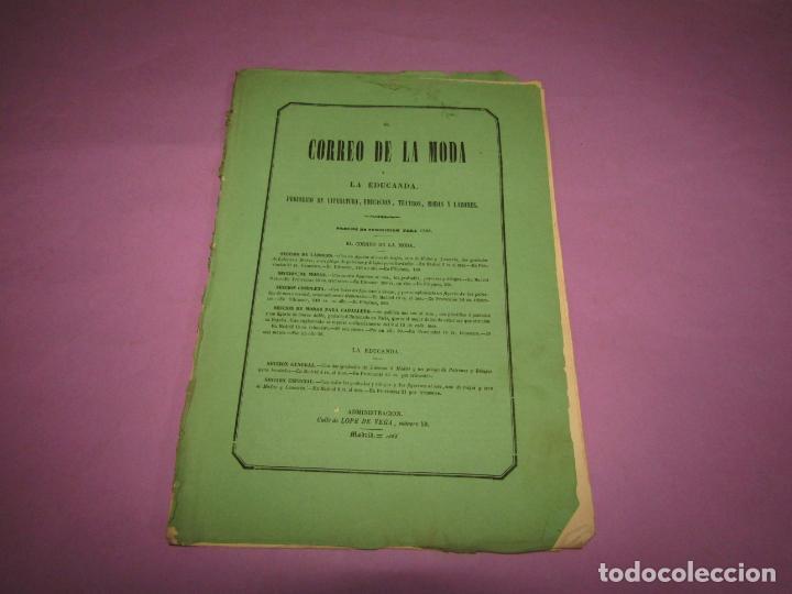 Antigüedades: Antiguo EL CORREO DE LA MODA, Álbum de Señoritas Nº 637 con Lamina Litografiada del Año 1866 - Foto 2 - 222543867