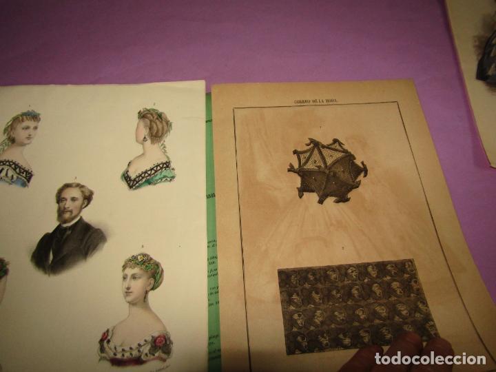 Antigüedades: Antiguo EL CORREO DE LA MODA, Álbum de Señoritas Nº 635 con Lamina Litografiada del Año 1866 - Foto 2 - 222543961