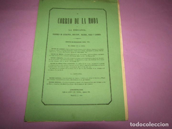 Antigüedades: Antiguo EL CORREO DE LA MODA, Álbum de Señoritas Nº 635 con Lamina Litografiada del Año 1866 - Foto 3 - 222543961