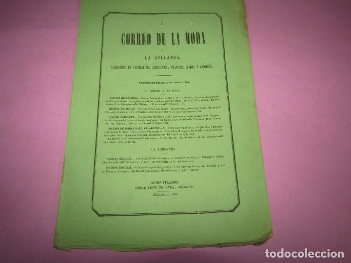 Antigüedades: Antiguo EL CORREO DE LA MODA, Álbum de Señoritas Nº 636 con Lamina Litografiada del Año 1866 - Foto 2 - 222544148