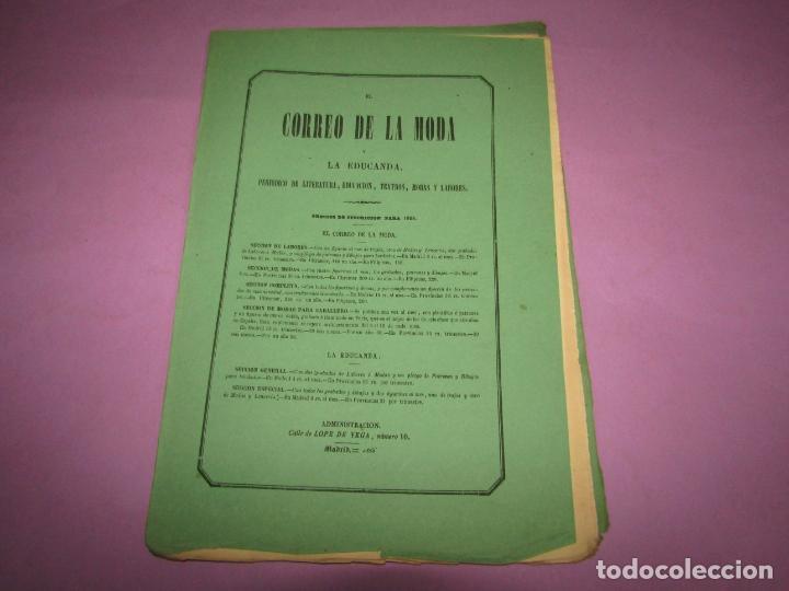 Antigüedades: Antiguo EL CORREO DE LA MODA, Álbum de Señoritas Nº 631 con Lamina Litografiada del Año 1866 - Foto 2 - 222544305