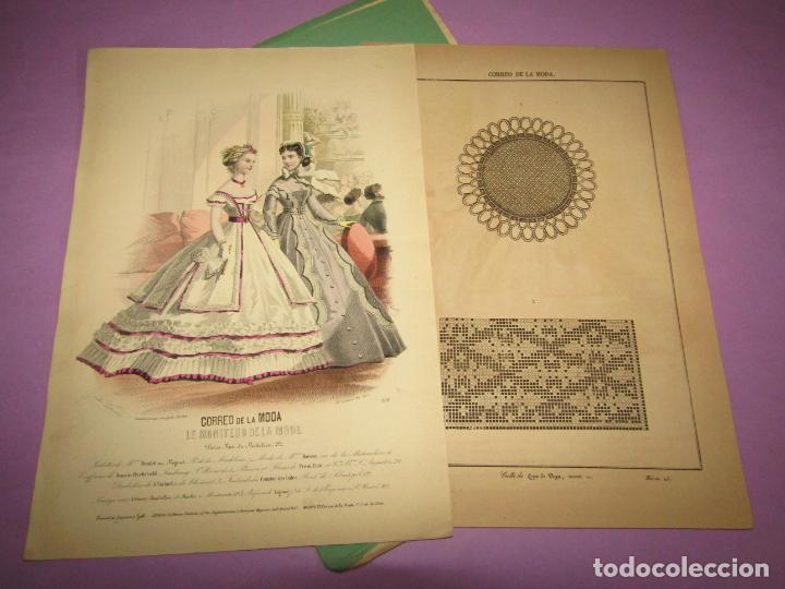 ANTIGUO EL CORREO DE LA MODA, ÁLBUM DE SEÑORITAS Nº 631 CON LAMINA LITOGRAFIADA DEL AÑO 1866 (Antigüedades - Moda y Complementos - Mujer)
