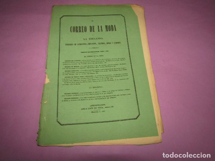 Antigüedades: Antiguo EL CORREO DE LA MODA, Álbum de Señoritas Nº 632 con Lamina Litografiada del Año 1866 - Foto 2 - 222544346