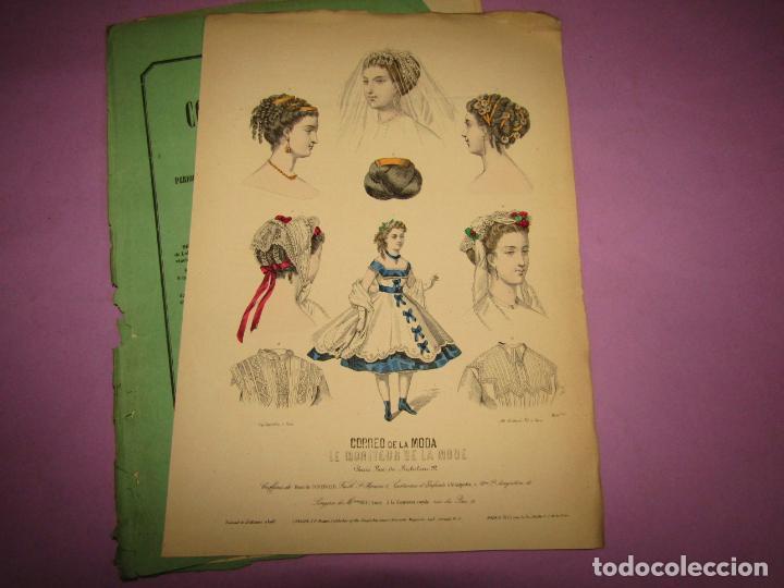 ANTIGUO EL CORREO DE LA MODA, ÁLBUM DE SEÑORITAS Nº 632 CON LAMINA LITOGRAFIADA DEL AÑO 1866 (Antigüedades - Moda y Complementos - Mujer)