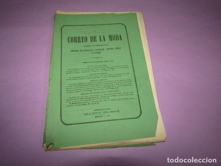 Antigüedades: Antiguo EL CORREO DE LA MODA, Álbum de Señoritas Nº 589 con Lamina Litografiada del Año 1865 - Foto 2 - 222544548