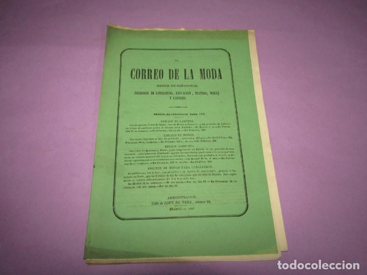 Antigüedades: Antiguo EL CORREO DE LA MODA, Álbum de Señoritas Nº 590 con Lamina Litografiada del Año 1865 - Foto 2 - 222544613