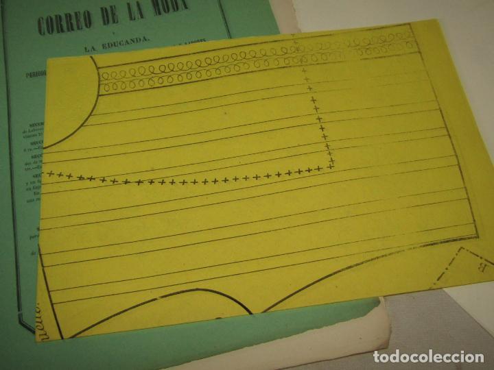 Antigüedades: Antiguo EL CORREO DE LA MODA, Álbum de Señoritas Nº 630 con Lamina Litografiada del Año 1866 - Foto 2 - 222544807