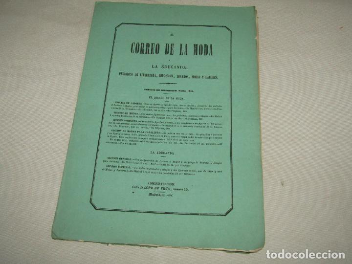 Antigüedades: Antiguo EL CORREO DE LA MODA, Álbum de Señoritas Nº 630 con Lamina Litografiada del Año 1866 - Foto 3 - 222544807