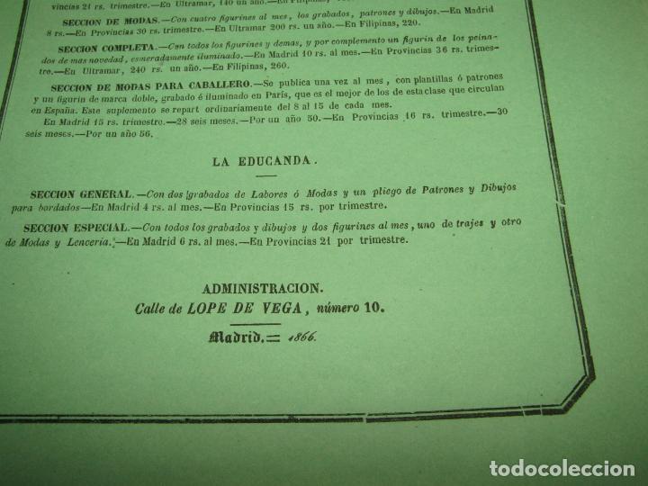 Antigüedades: Antiguo EL CORREO DE LA MODA, Álbum de Señoritas Nº 630 con Lamina Litografiada del Año 1866 - Foto 4 - 222544807