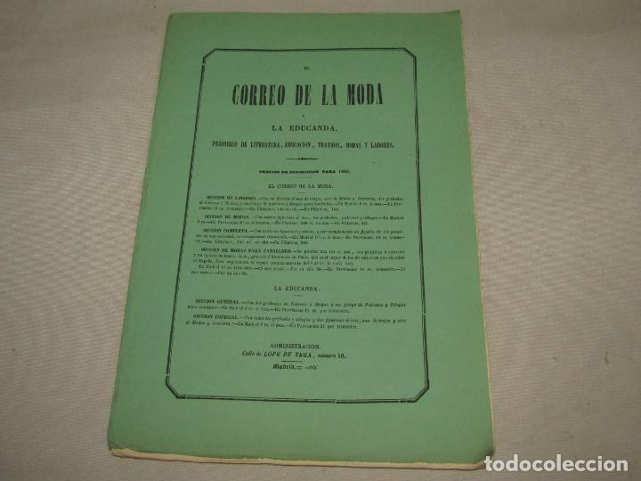 Antigüedades: Antiguo EL CORREO DE LA MODA, Álbum de Señoritas Nº 630 con Lamina Litografiada del Año 1866 - Foto 5 - 222544807