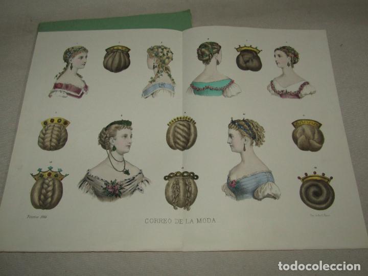 ANTIGUO EL CORREO DE LA MODA, ÁLBUM DE SEÑORITAS Nº 630 CON LAMINA LITOGRAFIADA DEL AÑO 1866 (Antigüedades - Moda y Complementos - Mujer)