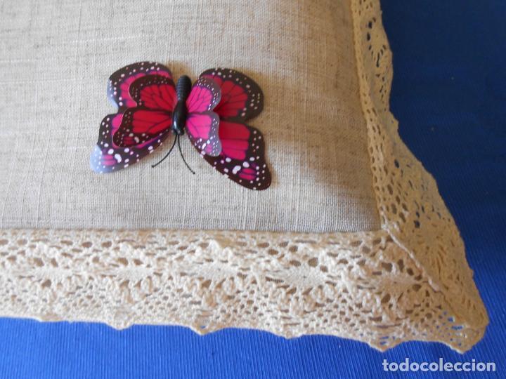 Antigüedades: Preciosa funda cojin.45x45 cm.Liso Con puntilla.BEIGE .Nuevo - Foto 3 - 278325553