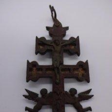 Antigüedades: CRUZ DE CARAVACA. COBRE Y BRONCE. ORIGINAL SIGLO XVIII-XIX. 14´5 CTMS. Lote 222561613