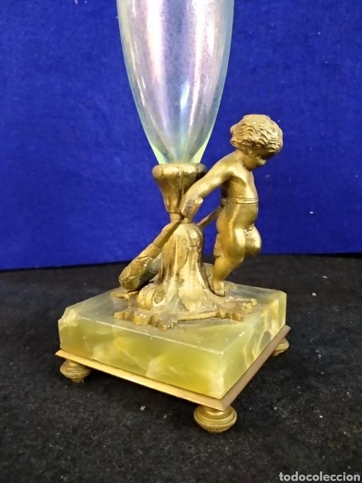 Antigüedades: Magnífico y antiguo florero bronce cristal y Onix. Modernista - Foto 4 - 222572977