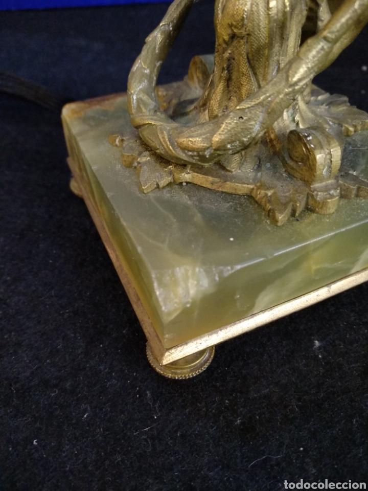Antigüedades: Magnífico y antiguo florero bronce cristal y Onix. Modernista - Foto 8 - 222572977
