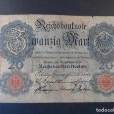 Antigüedades: IMPERIO ALEMAN. REICHSBANKNOTE: 20 MARCOS, BERLIN 19 DE FEBRERO DE 1914. Lote 222577998