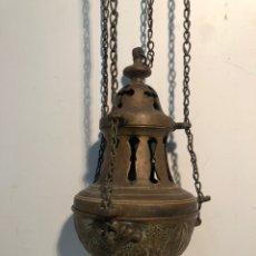 Antigüedades: PRECIOSO INCENSARIO O BOTAFUMEIRO DE BRONCE ANTIGUO, SIGLO XIX.. Lote 222586512