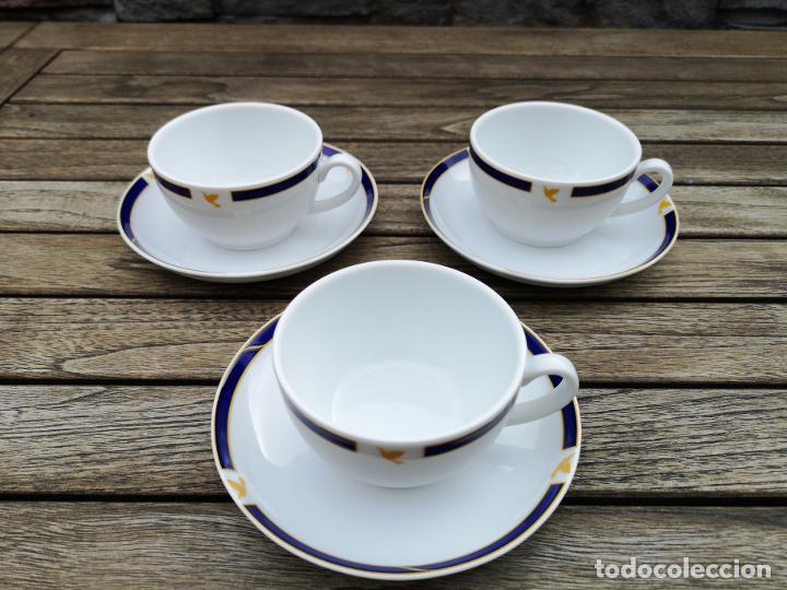 Antigüedades: SABENA Líneas Aéreas Belgas, lote de tres platos y tazas de café de porcelana de servicio a bordo - Foto 2 - 222593993